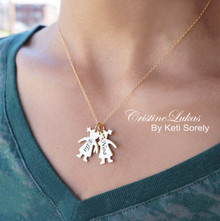 Family Necklace - Kids Engraved Name Silhouette Necklace - Choose Your Metal