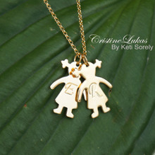 Family Necklace - Kids Hand Engraved Initial Silhouette Necklace - Choose Your Metal
