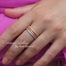 50% OFF- Tri Color Eternity Stackable Rings Set with Cubic Zirconia Stones - Yellow, Rose & White