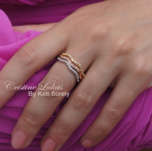 50% OFF- Tri Color Eternity Ring Stacking Set with Cubic Zirconia Stones - Yellow, Rose & White