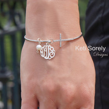 Monogram Charm Bangle with Cross & Pearl - Sterling Silver