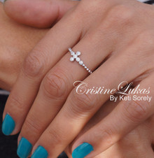 Celebrity Style Sideways Cross Ring with CZ Stones and Rope Disign - Sterling Silver