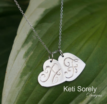 Hand Engraved Heart Charms With Initials - Yellow, Rose, White Gold