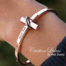 Clearance Sale - Sideways Cross Bangle With Engraved Name, Date or Initials - Stainless Steel