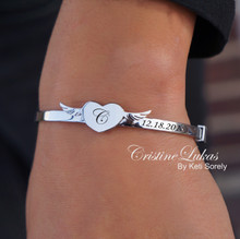 Clearance Sale - Heart & Wings Bangle With Engraved Name, Date or Initials - Stainless Steel