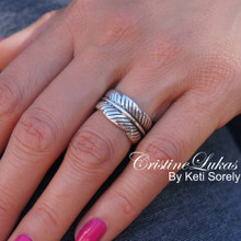 Clearance - Sideways Leaf Ring - Wrap Around Large leaf Ring - Tree Leaves - Sterling Silver