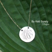 Hand Engraved Disc Necklace with Monogram Initials - Sterling Silver or Solid Gold