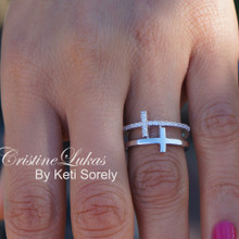 Sideways Cross Rings Set - Combination Of Plain & CZ Crosses - Sterling Silver