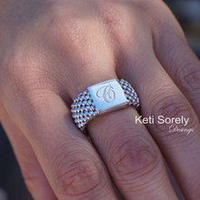 30% Off - Hand Engraved Mash Ring With Monogrammed Initial -  Sterling Silver