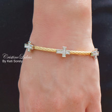 Clearance Sale - Sideways Cross Bangle Bracelet With Rhinestones - Rose Bangle - Yellow, Rose or White Gold