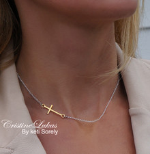 Two Tone Sideways Cross Necklace - Choose Sterling Silver or Solid Gold