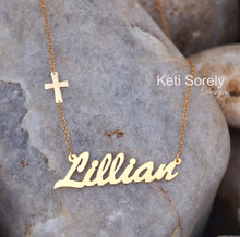 Personalized Hand Made Name Necklace with Small Sideways Cross - Choose Your Metal
