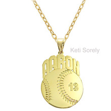 PersonalizedBaseball Sports Charm with Name - Choose Your Metal