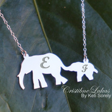 Elephant Mother and Child Necklace With Initials - Choose Your Metal