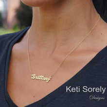 Personalized Hand Cut Name Necklace (brittany Style Yellow)