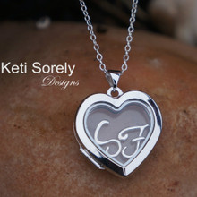 Heart Floating Glass Locket Pendant with Personal Initials - Sterling Silver or 14K Solid Yellow Gold
