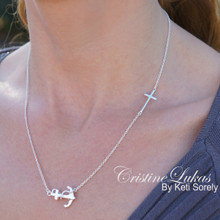 Sideways Cross Necklace with Anchor Charm - Sterling Silver, Yellow or Rose Gold