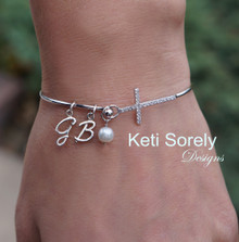 Sideways Cross Bangle with Initials & Freshwater Pearl Bead - Sterling Silver or Yellow Gold