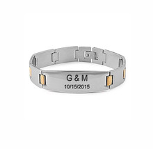 Personalized Men's Bracelet -  Stainless Steel With Yellow Gold