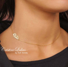 Sideways Script Initials Necklace - Sterling Silver or Solid Karat Gold