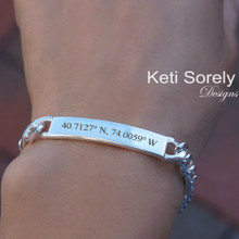 Unisex ID Bracelet with Ebgraved Coordinates - Sterling Silver or Yellow Gold