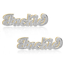 Personalized Name Earrings Diamond Beading Imitation  - Choose Your Metal
