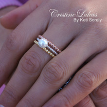 30% OFF - Stacking Ring Set with Pearl in Tri Color Gold - Sterling Silver with Yellow and Rose Gold Overlay