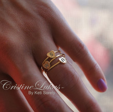 Soid Gold - Hand Engraved Stacking Heart Rings with Family Initials - Choose metal Color