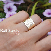 Hand Engraved Small Cuff Ring With Monogrammed Initials - Choose Your Metal