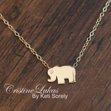 Good Luck Elephant Charm Necklace with Genuine Birthstone - Choose Your metal