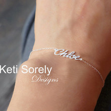 "Handmade Name Bracelet ""Chloe"" Style - Yellow, Rose or White Gold"