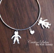 Create Your Family Bracelet with Engraved Kids Initials - Sterling Silver