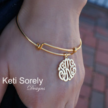 Personalized Bangle with Monogrammed Initials Charm - Yellow or Rose Gold Filled