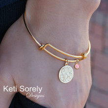 14K Gold Filled Personalized Bangle with Monogrammed Initials Charm & Birthstone - Yellow or Rose Gold