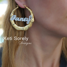 Celebrity Style Bamboo Name Earrings With Diamond Beading Imitation - Yellow or Rose Gold
