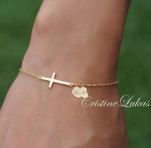 Create Your Family Initials Bracelet - Cross Bracelet with Personalized heart Charms - Choose Your Metal