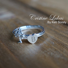 Final Sale - Tree of Life & Heart Ring Set With Engraved Initial - Stacking Rings Set - Sterling Silver