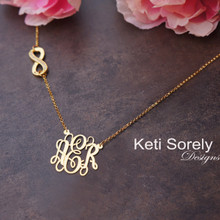 Sideways Infinity neckalce with CZ stones & Monogram Charm - Silver or Yellow Gold