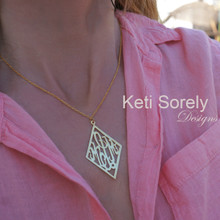 Diamond Shape Script Monogram Necklace  - Choose Your Metal