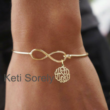 Infinity Bangle with Personalized Monogram Initials in Sterling Silver or Yellow Gold