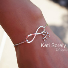 Personalized Infinity Bangle with Family Initials in Sterling Silver or Yellow Gold