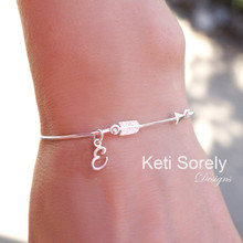 Sideways Arrow Bangle with Single Initials in Sterling Silver or Solid Gold