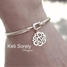 Rope Style Bangle Bracelet With Monogram Charm - Yellow, Rose or White Gold Overlay
