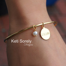Hand Engraved Charm Bangle with Date or Initials - sterling Silver, Yellow Gold or Rose Gold