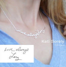 Handwriting Message Necklace -  Tattoo Necklace - Choose Your Metal