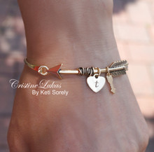 "30% off - ""Follow Your Heart"" Bracelet -Sideways Arrow Bangle Bracelet with Engraved Initial  - Yellow Gold"