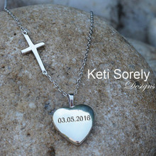 Heart Locket Neckalce with Sideways Cross, Engrave Your Monogram Initials, Special Date or Name - Silver, Rose or Yellow Gold