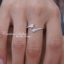 20% Off - Dainty Arrow Ring With CZ Stones in Sterling Silver