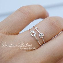 Stacking Ring Set of Sideways Arrow and Infinity Heart Ring - Sterling Silver