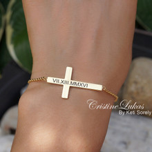 Custom Engraved Sideways Cross Bracelet With Roman Numerals - Choose Your Metal